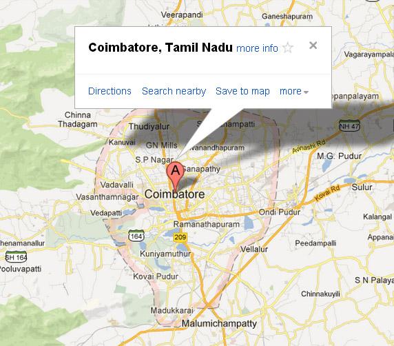 Check Coimbatore Map Coimbatore India